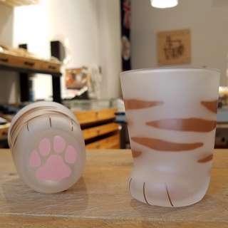 日本ADERIA貓腳造型玻璃杯 - 小虎紋(猫 グラス ココネコ - 子猫トラ)