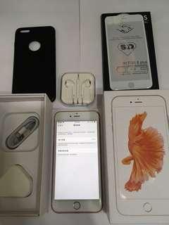 放抵用98%新Apple IPhone 6S Plus玫瑰金港行過保64G Full Set加黑套貼