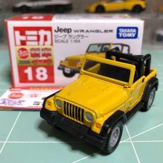 Tomica No.18 絕版 Jeep Wrangler 中製有貼