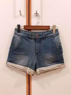 全新2%棉質中高腰牛仔短褲
