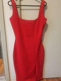 Square Neck Red Midi Dress