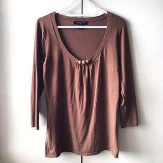 Women's Brown Long Sleeves Blouse (Size M)