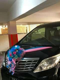 Wedding car decorations with installation and flowers no need to return