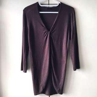 IQ Judys Women's Dark Brown Long Sleeves Blouse / Top (Size M)