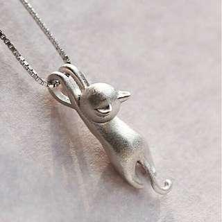 authentic 925 sterling silver cat necklace