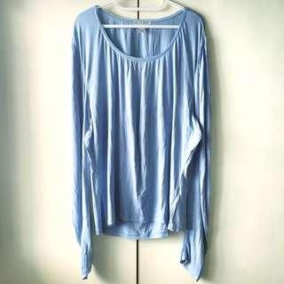 Casual Corner Women's Light Blue Long Sleeves Top (Size XL)