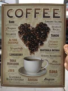 Coffee vocabulary Vintage metal plate