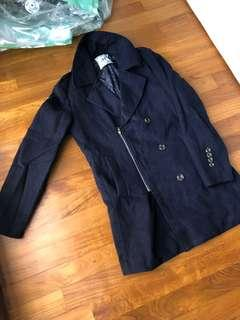 Navy blue wool blended jacket