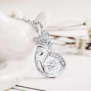 authentic 925 sterling silver fox necklace