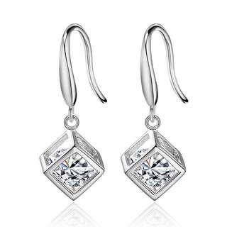 authentic 925 sterling silver diamond cube earring