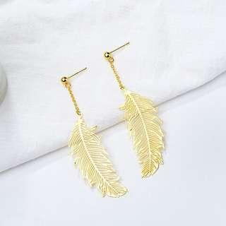 authentic 925 sterling silver feather plated