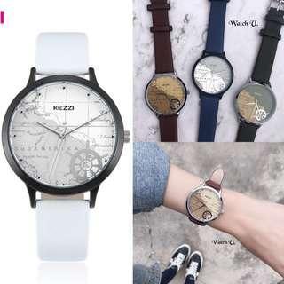 🚚 Kezzi 地圖錶 手錶 莫蘭迪 中性錶 文青質感 皮革錶