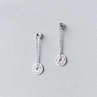 authentic 925 sterling silver coin earring