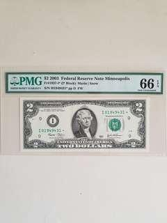 USD 2 2003 Replacement Note PMG EPQ 66