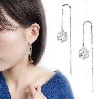 authentic 925 sterling silver diamond long