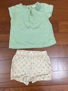 Zara Baby T shirt + HnM pant  one set