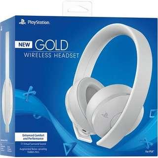 ( NEW ) Sony PlayStation Gold Wireless Headset (White) ( PS3/PS4/PC/MAC/Switch )