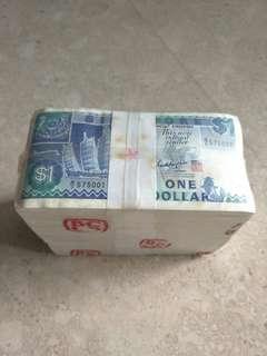 A BUNDLE 1000 PCS SINGAPORE $1 SHIP GKS B/9 575001-6000 RUN UNC