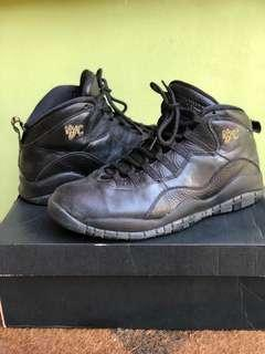 Nike Men's Air Jordan 10 X New York City NYC Triple Black Basketball Shoes Size 10 with Box