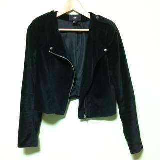 H&M 絨面黑色短版外套