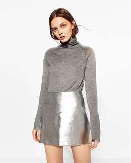 Preloved Zara metallic short skirt