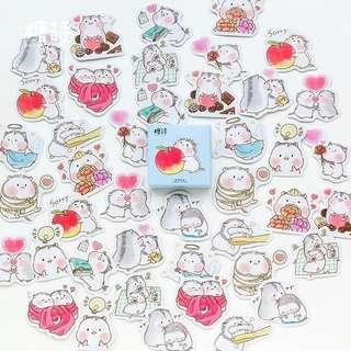 45pcs stickers Cute Hamster Sticker Box