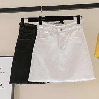 Black / White denim skirt #precny60