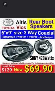 """Toyota Altis/Vios  6""""x9"""" 3 way Car Speakers ( 420watts ) by SONY. The most powerful speakers for your car without the need for separate Amp + Woofer. Model:FB693E. Usual Price: $ 129.90. Special Price: $69.90"""