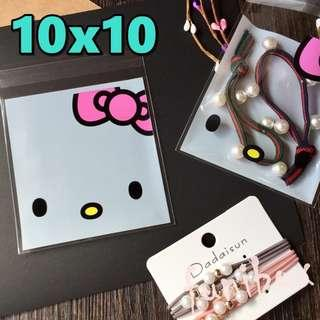 *funibox*【10X10中號100入】白底Kitty 透明opp自黏袋/餅乾烘焙飾品手工皂/婚禮小物