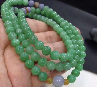 Apple green jadeite jade necklace 108 beads