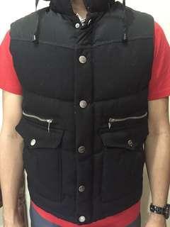 Zara Man Denim Padded Vest with Hidden Hoodie