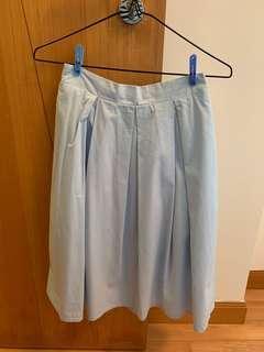 Mid length navy blue skirt