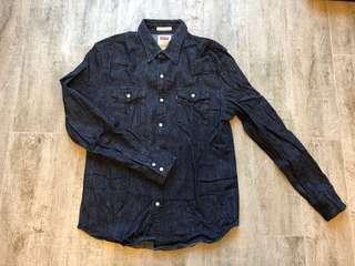 levis denim shirt slim M blue jeans jean 501 trucker jacket