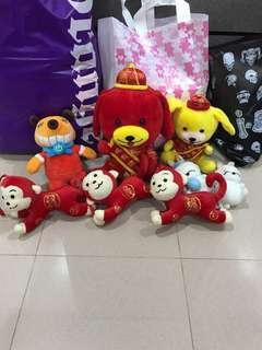 Free Soft toy dog monkeys rabbit