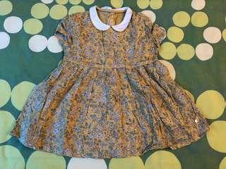 M&S baby girl yellow floral dress