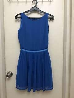 XS Mango Blue Pleated Dress