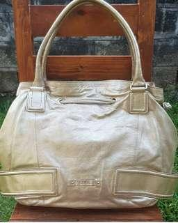 Authentic Cole Haan Pale Gold XL Genuine Leather Hobo