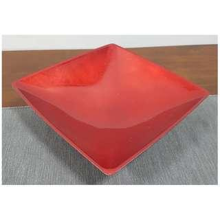 Decorative Lacquered Square Plate Bowl Red