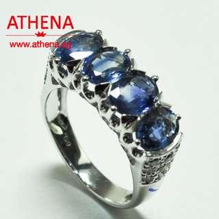 JW_SR_1608 JEWELLERY 18K WG BLUE SAPPHIRE RING ( UNHEATED ) WITH DIAMOND D18-0.50CTS 6.25G [ CERT. ]