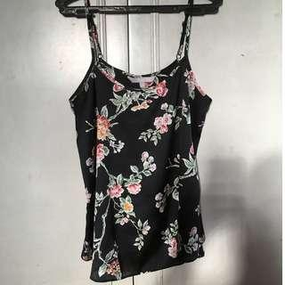 (NEGOTIABLE) Black Printed (flowers/leaves) Spaghetti Strap
