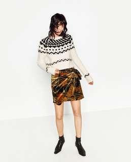 ZARA BASIC Velvet Drape Skirt