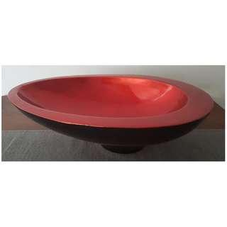 Decorative Lacquered Oval Bowl Red