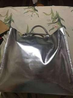 Clinique Metallic Silver Tote