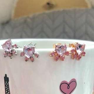 貓腳印粉紅水晶耳環