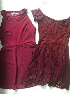Maroon halter & off shoulder lace dress