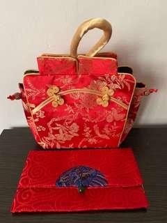 [Bundle Deal] CNY Mandarin Orange Carrier Bag & Red Packets Hong Bao Ang Pow Organizer