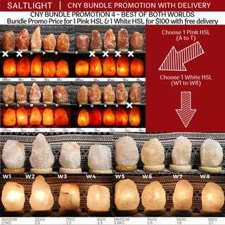 🚚 Himalayan Salt Lamps | 1 White 1 Pink HSL with free delivery | CNY Sales Promo Bundle