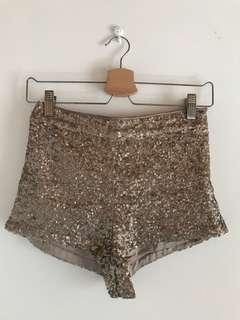 Topshop Bronze Sequin High-Waisted Sexy Party Rave Shorts Pants