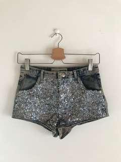 Topshop Moto Blue Denim Silver Sequin Hot Pants Shorts W26 UK8