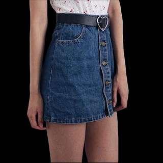 AA Button Up Denim Skirt
